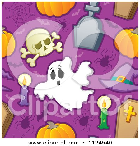 Cartoon Of A Seamless Halloween Background Of Skulls Candles Spiders Bats Tombstones Coffins And Pumpkins On Purple - Royalty Free Vector Clipart by visekart