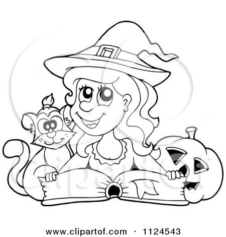 Cartoon Of An Outlined Cute Halloween Witch Cat And Pumpkin By A Spell Book - Royalty Free Vector Clipart by visekart