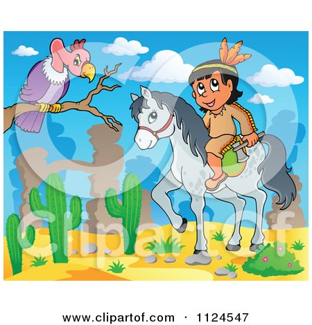 Cartoon Of A Horseback Native American Indian Near A Vulture In A Desert - Royalty Free Vector Clipart by visekart