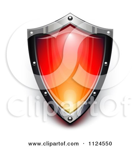 Clipart Of A 3d Steel And Red Security Shield - Royalty Free Vector Illustration by Oligo