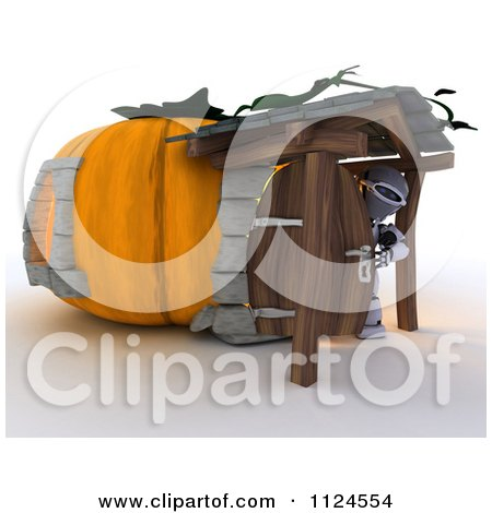 Clipart Of A 3d Robot In A Pumpkin Cottage House - Royalty Free CGI Illustration by KJ Pargeter