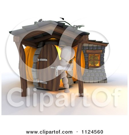 Clipart Of A 3d White Character In A Pumpkin Cottage House - Royalty Free CGI Illustration by KJ Pargeter