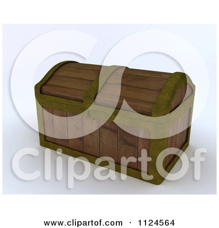 Clipart Of A 3d Wooden Treasure Chest Trunk - Royalty Free CGI Illustration by KJ Pargeter
