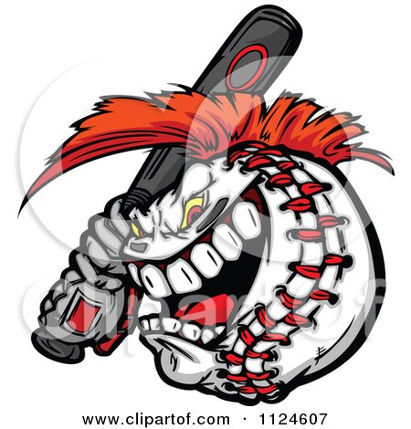 Cartoon Of A Competitive Batting Baseball Mascot With A Mohawk - Royalty Free Vector Clipart by Chromaco