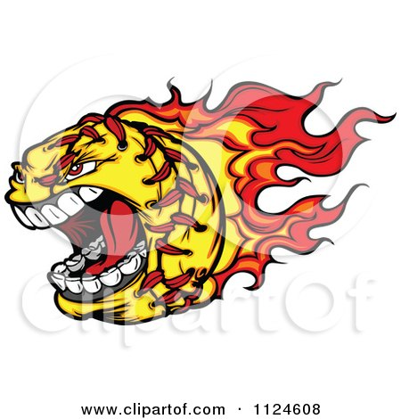 Cartoon Of A Flaming Aggressive Screaming Softball Mascot - Royalty Free Vector Clipart by Chromaco