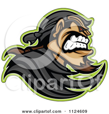 Clipart Of An Aggressive Bandit Mascot In Profile - Royalty Free Vector Illustration by Chromaco