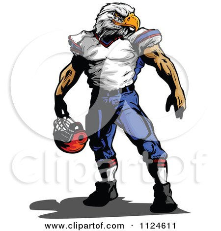 Clipart Of A Muscular Bald Eagle Headed Football Player - Royalty Free Vector Illustration by Chromaco