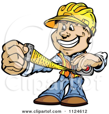 Cartoon Of A Happy Handyman Using A Tape Measure - Royalty Free Vector Clipart by Chromaco