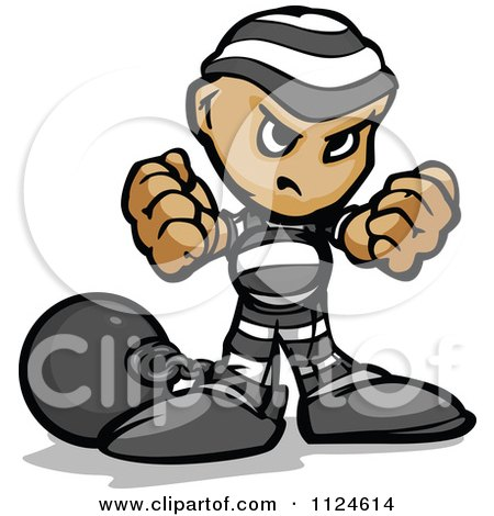 Cartoon Of A Tough Prisoner Holding Up Fists - Royalty Free Vector Clipart by Chromaco