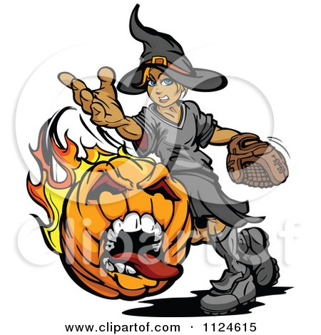 Cartoon Of A Halloween Witch Pitching A Flaming Screaming Pumpkin Baseball| Royalty Free Vector Clipart by Chromaco