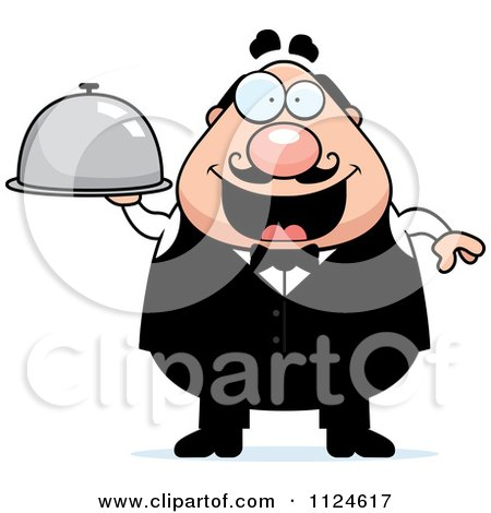 Cartoon Of A Happy Chubby Male Waiter Holding A Cloche Platter - Royalty Free Vector Clipart by Cory Thoman