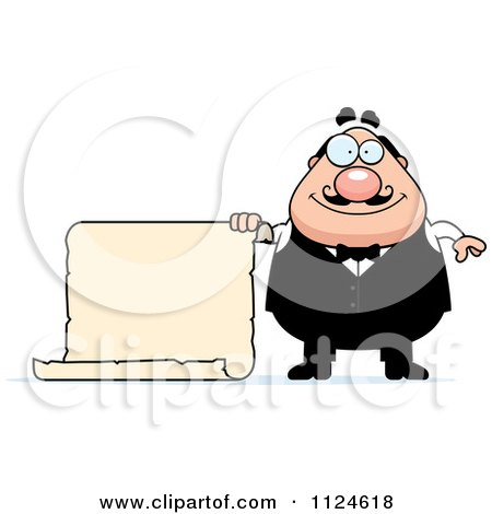 Cartoon Of A Happy Chubby Male Waiter Holding A Sign - Royalty Free Vector Clipart by Cory Thoman