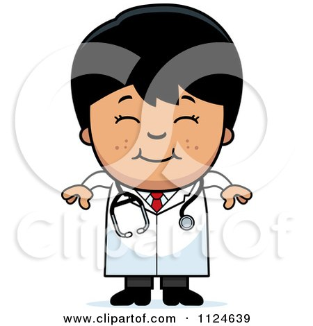 Cartoon Of A Happy Asian Doctor Or Veterinarian Boy - Royalty Free Vector Clipart by Cory Thoman