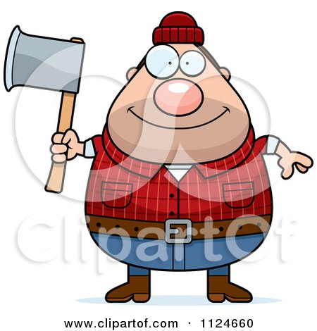 Happy Chubby Male Lumberjack Holding An Axe Posters, Art Prints