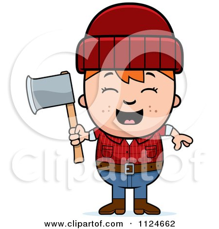 Happy Red Haired Lumberjack Boy Holding An Axe Posters, Art Prints