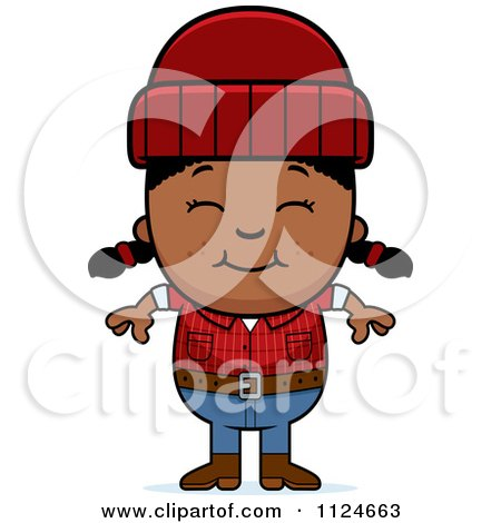 Cartoon Of A Happy Black Lumberjack Girl - Royalty Free Vector Clipart by Cory Thoman