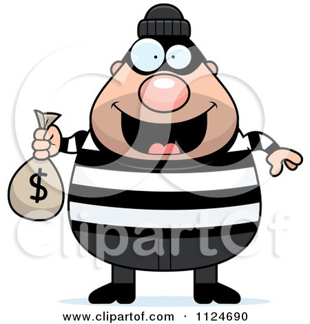 Cartoon Of A Happy Chubby Burglar Or Robber Man Holding A Money Bag - Royalty Free Vector Clipart by Cory Thoman