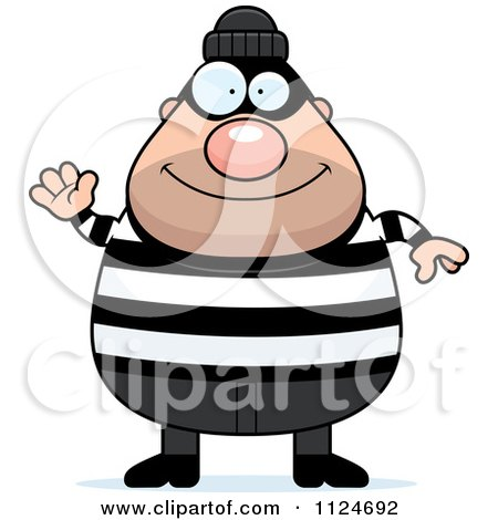 Cartoon Of A Happy Chubby Burglar Or Robber Man Waving - Royalty Free Vector Clipart by Cory Thoman