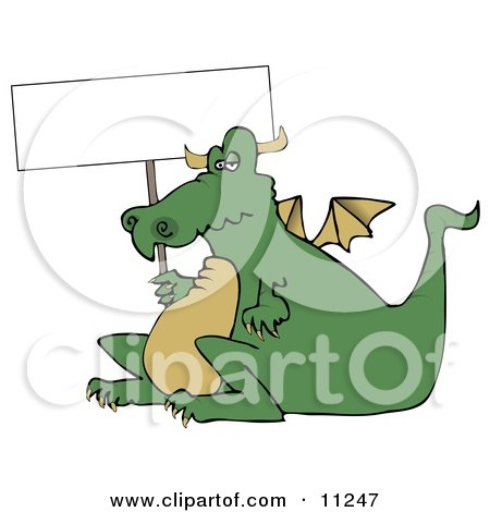 Lazy Fat Dragon Holding a Blank Sign Clipart Illustration by djart
