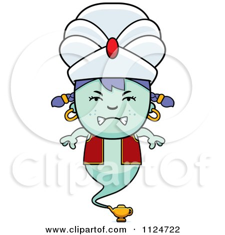 Cartoon Of An Angry Genie Girl - Royalty Free Vector Clipart by Cory Thoman