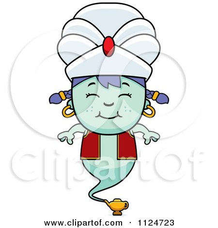 Cartoon Of A Happy Genie Girl - Royalty Free Vector Clipart by Cory Thoman