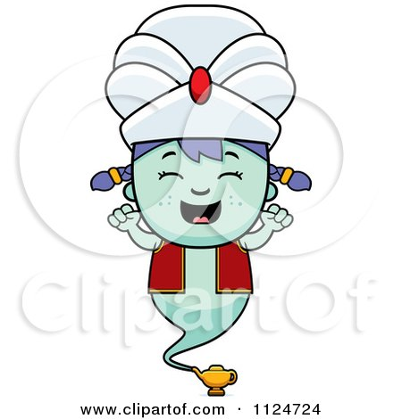 Cartoon Of A Happy Genie Girl Cheering - Royalty Free Vector Clipart by Cory Thoman