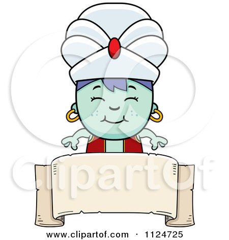 Cartoon Of A Happy Genie Boy Over A Banner Sign - Royalty Free Vector Clipart by Cory Thoman