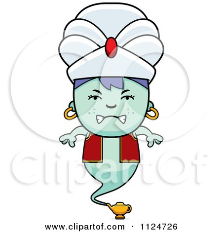 Cartoon Of An Angry Genie Boy - Royalty Free Vector Clipart by Cory Thoman