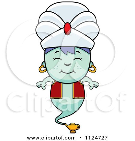 Cartoon Of A Happy Genie Boy - Royalty Free Vector Clipart by Cory Thoman