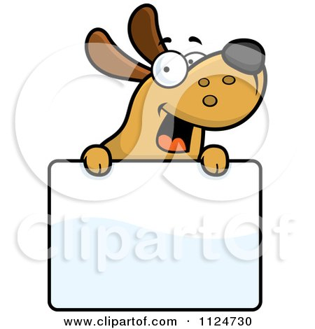 Cartoon Of A Happy Dog Over A Sign - Royalty Free Vector Clipart by Cory Thoman