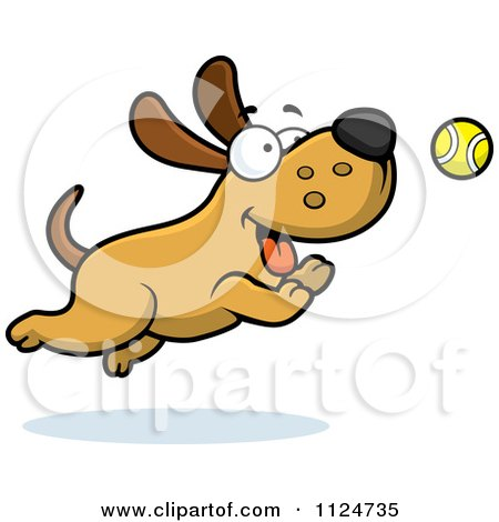 Cartoon Of A Happy Dog Chasing A Tennis Ball - Royalty Free Vector Clipart by Cory Thoman