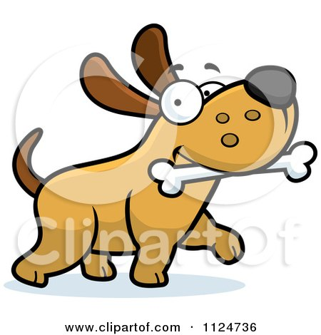 Cartoon Of A Happy Dog Strutting With A Bone - Royalty Free Vector Clipart by Cory Thoman