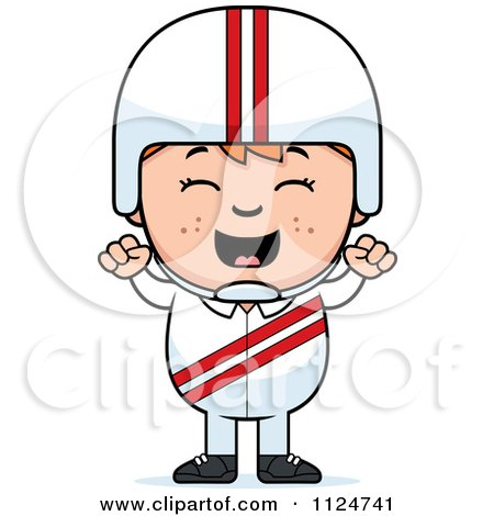 Cartoon Of A Happy Red Haired Daredevil Stunt Boy Cheering - Royalty Free Vector Clipart by Cory Thoman