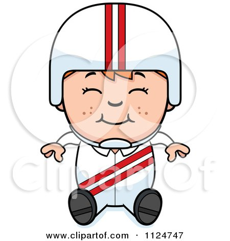 Cartoon Of A Happy Red Haired Daredevil Stunt Boy Sitting - Royalty Free Vector Clipart by Cory Thoman