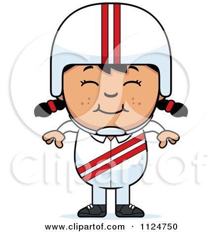 Cartoon Of A Happy Asian Daredevil Stunt Girl - Royalty Free Vector Clipart by Cory Thoman