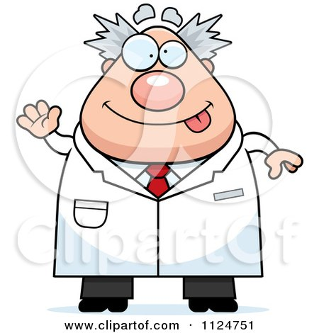 Cartoon Of A Waving Chubby Male Scientist - Royalty Free Vector Clipart by Cory Thoman