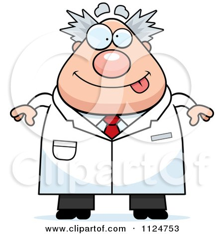 Cartoon Of A Happy Chubby Male Scientist - Royalty Free Vector Clipart by Cory Thoman