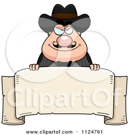 Cartoon Of A Happy Chubby Male Wild West Cowboy With A Banner Sign - Royalty Free Vector Clipart by Cory Thoman