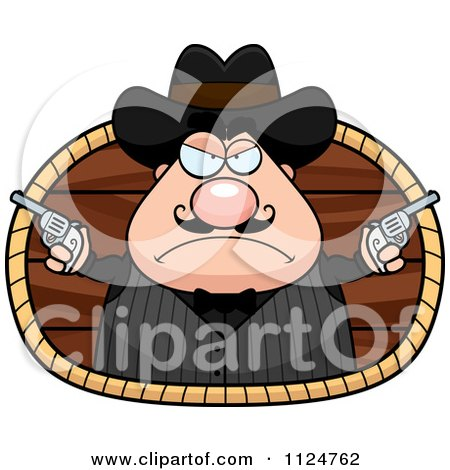 Cartoon Of A Chubby Male Wild West Cowboy Holding Guns Royalty Free Vector Clipart