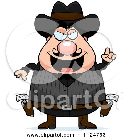 Cartoon Of A Chubby Male Wild West Cowboy With An Idea - Royalty Free Vector Clipart by Cory Thoman
