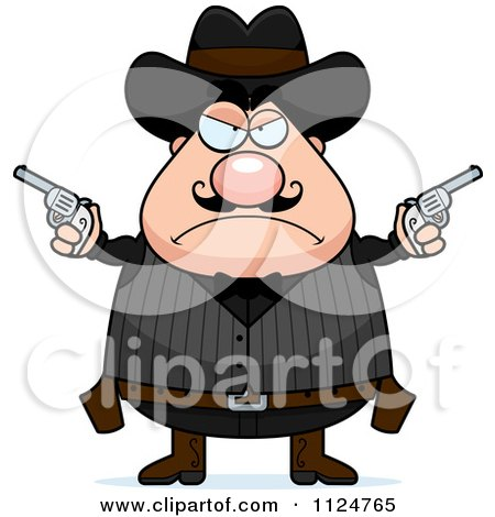 Cartoon Of An Angry Chubby Male Wild West Cowboy Holding Pistols - Royalty Free Vector Clipart by Cory Thoman