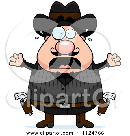Cartoon Of A Scared Chubby Male Wild West Cowboy - Royalty Free Vector Clipart by Cory Thoman