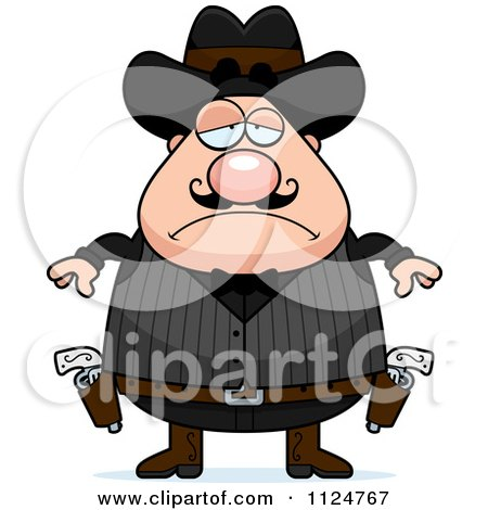 Cartoon Of A Depressed Chubby Male Wild West Cowboy - Royalty Free Vector Clipart by Cory Thoman