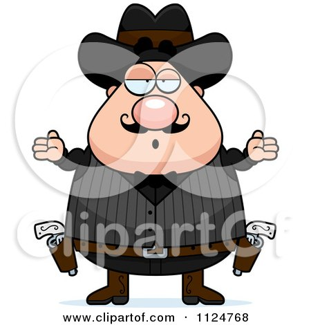 Cartoon Of A Careless Shrugging Chubby Male Wild West Cowboy - Royalty Free Vector Clipart by Cory Thoman