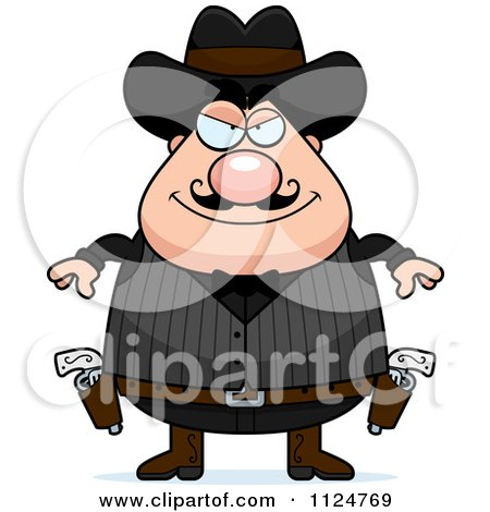 Cartoon Of A Grinning Chubby Male Wild West Cowboy - Royalty Free Vector Clipart by Cory Thoman
