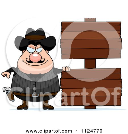 Cartoon Of A Happy Chubby Male Wild West Cowboy With A Wooden Sign - Royalty Free Vector Clipart by Cory Thoman
