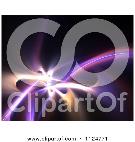 Clipart Of Fractal Swooshes On Black - Royalty Free CGI Illustration by Arena Creative
