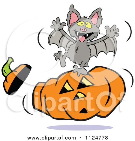 Clipart Of A Vampire Bat Dancing On A Halloween Jackolantern - Royalty Free Vector Illustration by Johnny Sajem