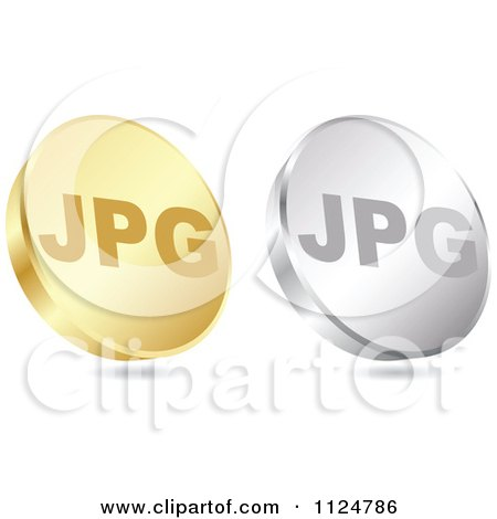 Clipart Of 3d Gold And Silver JPG Format Coin Icons - Royalty Free Vector Illustration by Andrei Marincas