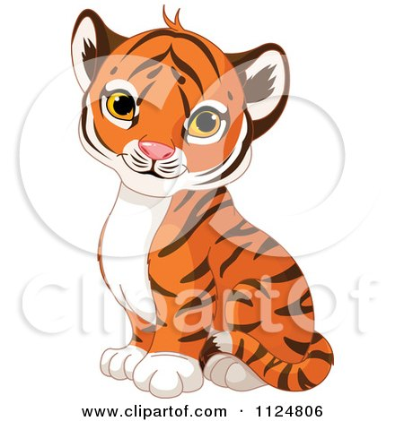 Cartoon Of A Cute Baby Tiger Cub Sitting - Royalty Free Vector Clipart by Pushkin